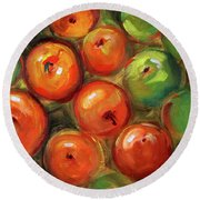 Round Beach Towel featuring the painting Apple Barrel Still Life by Nancy Merkle