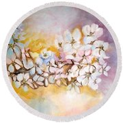 Round Beach Towel featuring the painting Apple Blooms by Donna Dixon