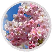 Round Beach Towel featuring the photograph Apple Blossom Special by Miriam Danar