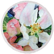Apple Blossom Time Round Beach Towel