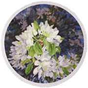 Apple Blossoms At Dusk Round Beach Towel