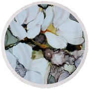 Round Beach Towel featuring the painting Apple Blossoms by Joanne Smoley