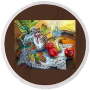 Apple Cat Round Beach Towel