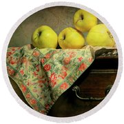 Round Beach Towel featuring the photograph Apple Cloth by Diana Angstadt