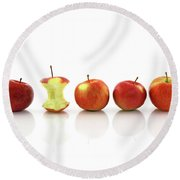 Apple Core Among Whole Apples Round Beach Towel by GoodMood Art