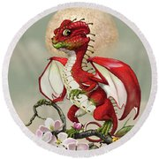 Apple Dragon Round Beach Towel by Stanley Morrison