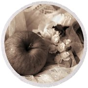 Round Beach Towel featuring the photograph Apple In Sepia by Rachel Mirror