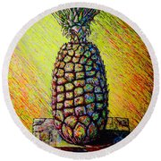 Round Beach Towel featuring the painting Apple ..of The Pine by Viktor Lazarev