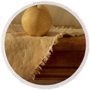 Apple Pear On A Table Round Beach Towel
