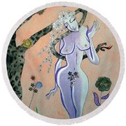 Apple, Snake, Woman -- Eve In Garden Of Eden, #4 In Famous Flirts Series Round Beach Towel