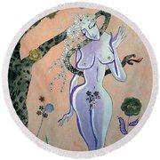 Apple, Snake, Woman -- Eve In Garden Of Eden, #4 In Famous Flirts Series Round Beach Towel