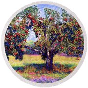 Apple Tree Orchard Round Beach Towel