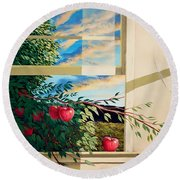 Apple Tree Overflowing Round Beach Towel