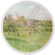 Apple Trees At Gragny Round Beach Towel