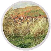 Apple Trees In Blossom Round Beach Towel by Claude Monet