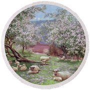 Appleblossom Round Beach Towel by William Biscombe Gardner