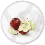 Apples And Blossom Round Beach Towel
