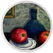 Round Beach Towel featuring the painting Apples And Bottles by Gail Kirtz