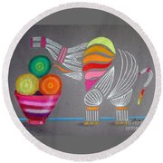 Apples And Oranges And Elephants, Oh My -- Whimsical Still Life W/ Elephant Round Beach Towel