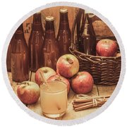 Apples Cider By Wicker Basket On Wooden Table Round Beach Towel