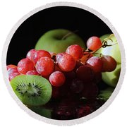 Apples, Grapes And Kiwi  Round Beach Towel