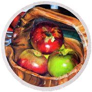 Apples In A Burled Bowl Round Beach Towel