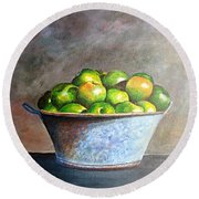 Apples In A Rusty Bucket Round Beach Towel