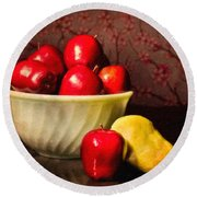 Apples In Bowl With Pear Round Beach Towel