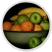 Round Beach Towel featuring the photograph Apples, Oranges And Bananas 1 by Angie Tirado