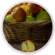 Apples To Share Round Beach Towel