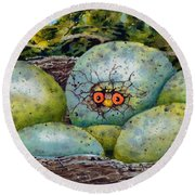 Round Beach Towel featuring the painting Apprehension by Sam Sidders