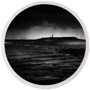 Approaching Storm, Ailsa Craig And Pladda Island Round Beach Towel