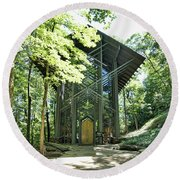 Round Beach Towel featuring the photograph Approaching Thorncrown Chapel by Cricket Hackmann