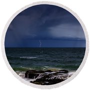 Approaching Thunder Storm Round Beach Towel