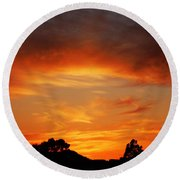 Round Beach Towel featuring the photograph Apricot Sunset by Mark Blauhoefer