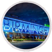 April 2015 -  Birmingham Alabama Baseball Regions Field At Night Round Beach Towel