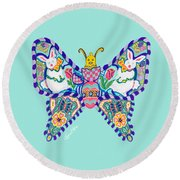 April Butterfly Round Beach Towel