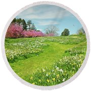 Round Beach Towel featuring the photograph April Days by Diana Angstadt