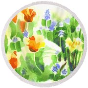 Round Beach Towel featuring the painting April Flowers 2 by Kip DeVore
