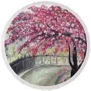 April In Paris Round Beach Towel by Roxy Rich