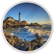 Round Beach Towel featuring the photograph April Morning At Portland Head by Rick Berk