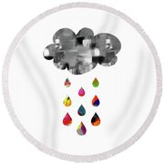 Round Beach Towel featuring the mixed media April Showers- Art By Linda Woods by Linda Woods