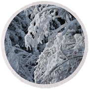 April Snow Round Beach Towel
