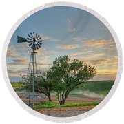Spring Sunset And Windmill Round Beach Towel