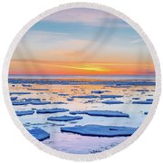 April Sunset Over Lake Superior Round Beach Towel