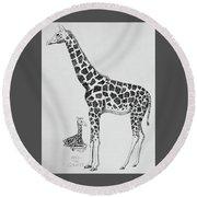 April The Giraffe Round Beach Towel