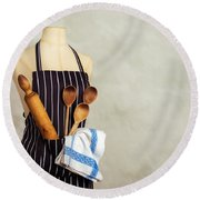 Apron And Baking Utensils Round Beach Towel