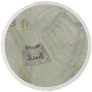Apron On Canvas - Mixed Media Round Beach Towel