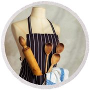 Apron With Utensils Round Beach Towel