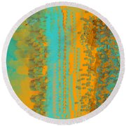 Aqua And Copper Abstract Round Beach Towel